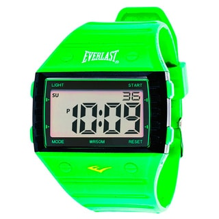Everlast Sport Men's Square Watch with Green Rubber Strap