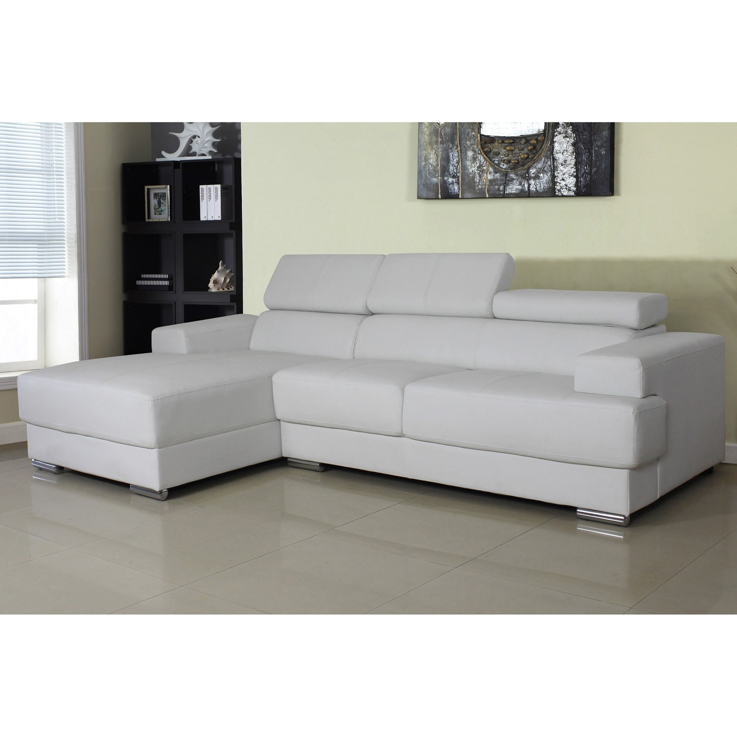 Gabriel Leather Contemporary Sectional Sofa Set (Option: White Facing Right  Chaise Sectional Set