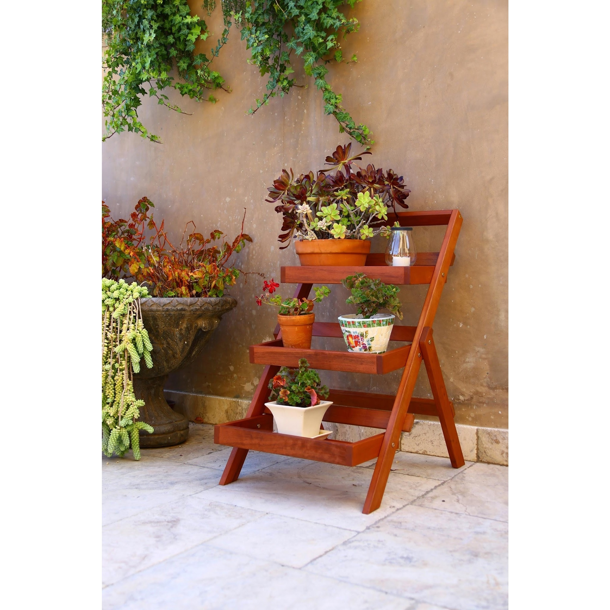 Shop Wood Outdoor Three-Layer Plant Stand - Free Shipping On Orders ...