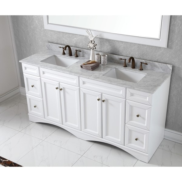 double sink white vanity. Virtu USA Talisa 72 inch Double Sink White Carrara Marble Countertop Vanity  Free Shipping Today Overstock com 16949464