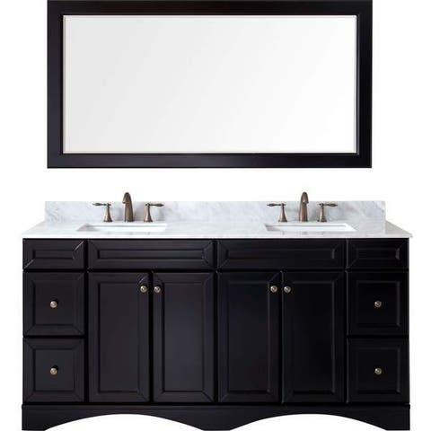 Talisa 72-in Square Carrara White Marble Double Sink Vanity Set
