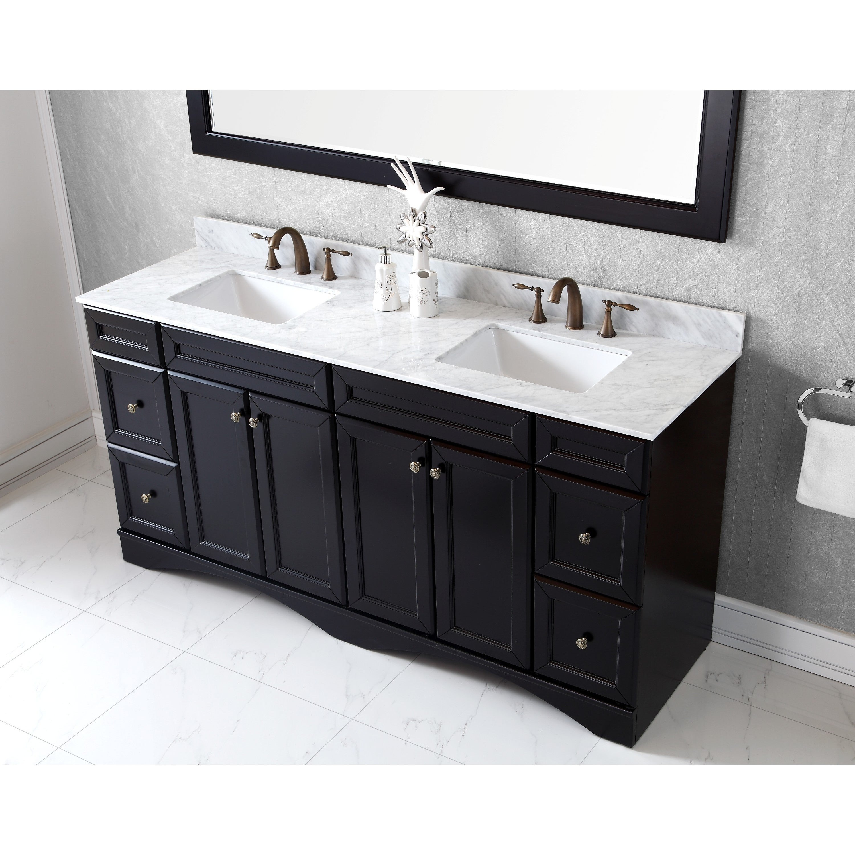 Shop Black Friday Deals On Virtu Usa Talisa 72 Inch Carrara White Marble Double Sink Vanity Overstock 9779561 Brown Black