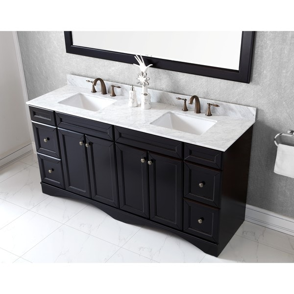 Shop virtu usa talisa 72 inch square carrara white marble double sink vanity set free shipping for 72 inch double bathroom vanity