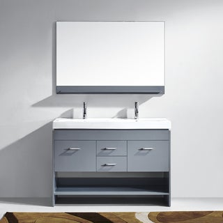 Virtu USA Gloria 48-inch Grey Double Sink Bathroom Vanity Cabinet Set