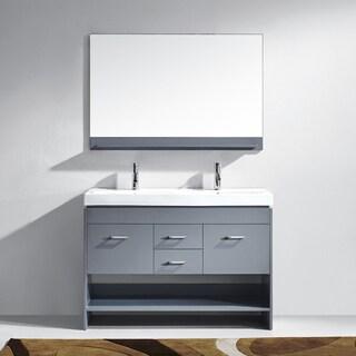 Gloria 48-inch Grey Double Vanity White Ceramic Chrome Faucet Mirror
