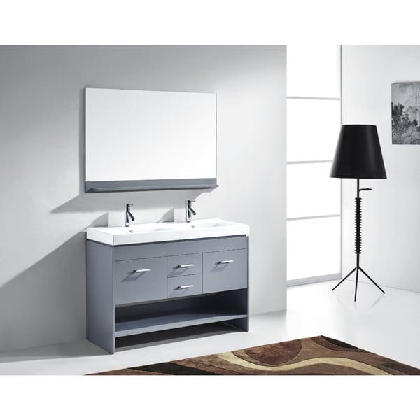 Virtu USA Gloria 48 inch Grey Double Sink Bathroom Vanity Cabinet