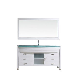 Virtu USA Ava 61-inch Single Bathroom Vanity Cabinet Set in White