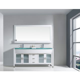 Virtu USA Ava 71-inch Double Bathroom Vanity Cabinet Set in White