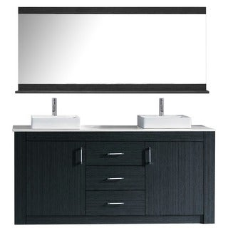 Virtu USA Tavian 72-inch Double Bathroom Vanity Cabinet Set in Grey
