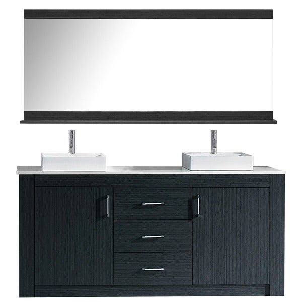 Virtu USA Tavian 72 Inch Double Bathroom Vanity Cabinet Set In Grey