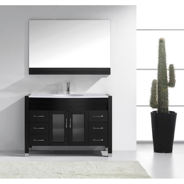 15 Inch Bathroom Vanity virtu usa ava 48-inch single bathroom vanity cabinet set in