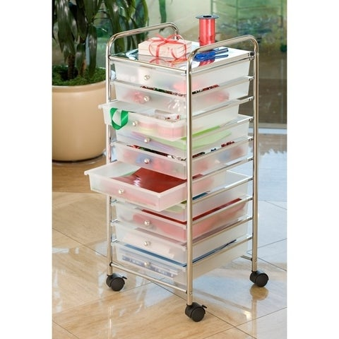 Seville Classics 10-Drawer Organizer Cart, Frosted White