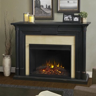 Maxwell Blackwash 57.75 in. L x 15.25 in. D x 42.125 in. H Grand Electric Fireplace by Real Flame