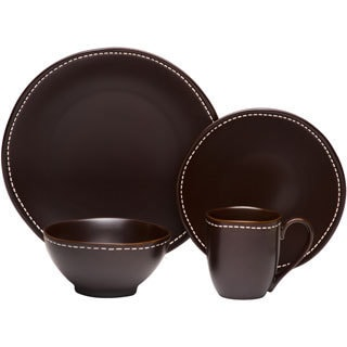 Red Vanilla Saddle Stitch 16-piece Dinner Set
