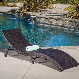 Acapulco Outdoor Wicker Folding Chaise Lounge by Christopher Knight Home
