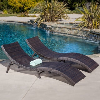 Acapulco Outdoor Wicker Folding Chaise Lounge (Set of 2) by Christopher Knight Home