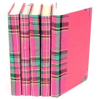 Bespoke Pink/ Green Plaid Decorative Books (Set of 5)