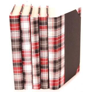 Bespoke Red/ Black Plaid Decorative Books (Set of 5)