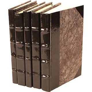 Patent Leather Black Decorative Books (Set of 5)