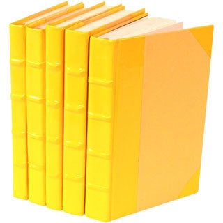 Patent Leather Yellow Decorative Books (Set of 5)