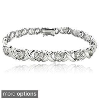 DB Designs Silvertone or Goldtone 1ct TDW Diamond X and Heart Bracelet (I-J, I2-I3)
