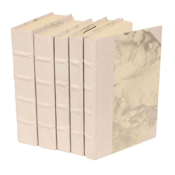 Parchment Collection White Decorative Books (Set of 5)