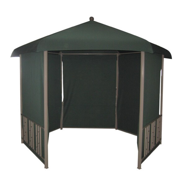 steel hexagonal gazebo with 5 pull down shades