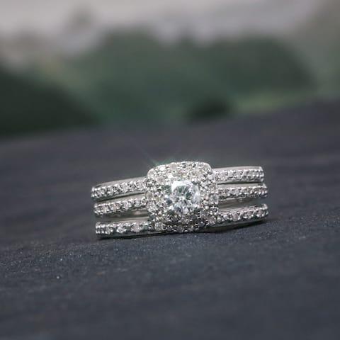 Miadora Sterling Silver 1/2ct TDW Cushion Diamond Double Halo Bridal Ring Set