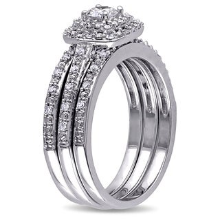Miadora Sterling Silver 1/2 ct. TDW Cushion Diamond Double-Halo Bridal Ring Set
