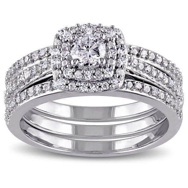Miadora Sterling Silver 1/2ct TDW Cushion Diamond Double Halo Bridal Ring Set