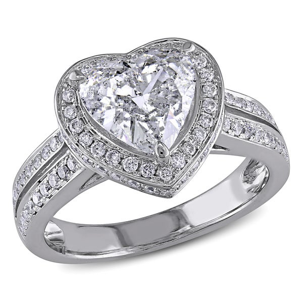 Miadora Signature Collection 14k White Gold 2ct TDW Diamond Heart Ring. Opens flyout.