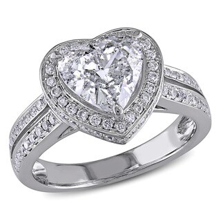 Miadora Signature Collection 14k White Gold 2ct TDW Diamond Heart Ring
