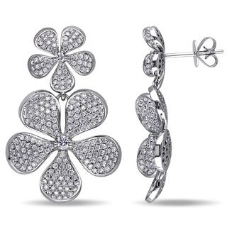 Miadora Signature Collection 14k White Gold 2 1/4ct TDW Diamond Flower Earrings (G-H, SI1-SI2)
