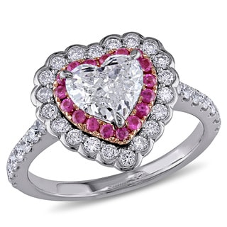Miadora 14k White Gold Pink Sapphire and 1 1/2ct TDW Diamond Heart Ring