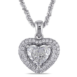 Miadora Signature Collection 14k White Gold 1 1/3ct TDW Diamond Heart Necklace (H-I, SI1-SI2)