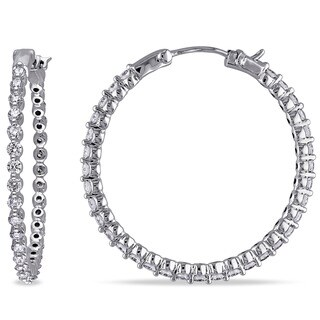 Miadora Signature Collection 14k White Gold 1 4/5ct TDW Diamond Hoop Earrings