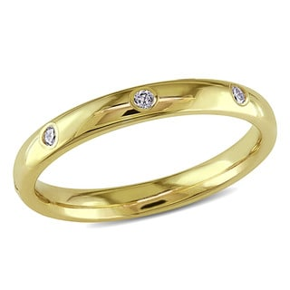 Miadora 14k Yellow Gold 1/6ct TDW Diamond Wedding Band (G-H, SI2-SI2)