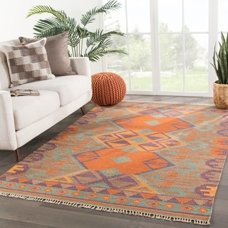 Indo Flat Weave Orange/ Brown Tribal Wool Area Rug (5' x 8')