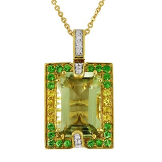 14k Yellow Gold 1/10ct TDW Diamonds and Multi-gemstone Necklace (H-I, I1-I2)