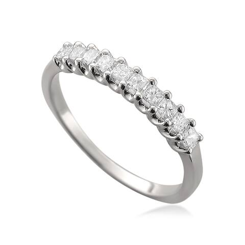 Montebello 14KT White Gold 1/2ct TDW Princess-cut Diamond Wedding Band
