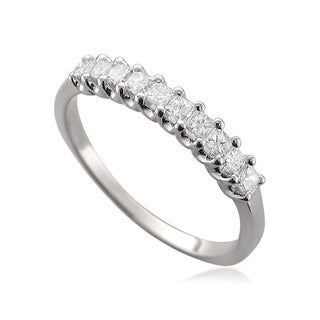 Montebello 14k White Gold 1/2ct TDW Princess-cut Diamond Wedding Band