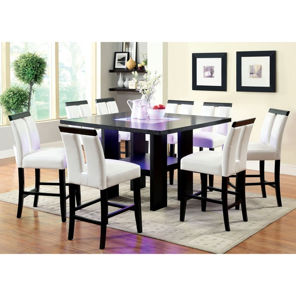 Furniture Of America Lumina 9 Piece Light Up Counter Height Dining Set