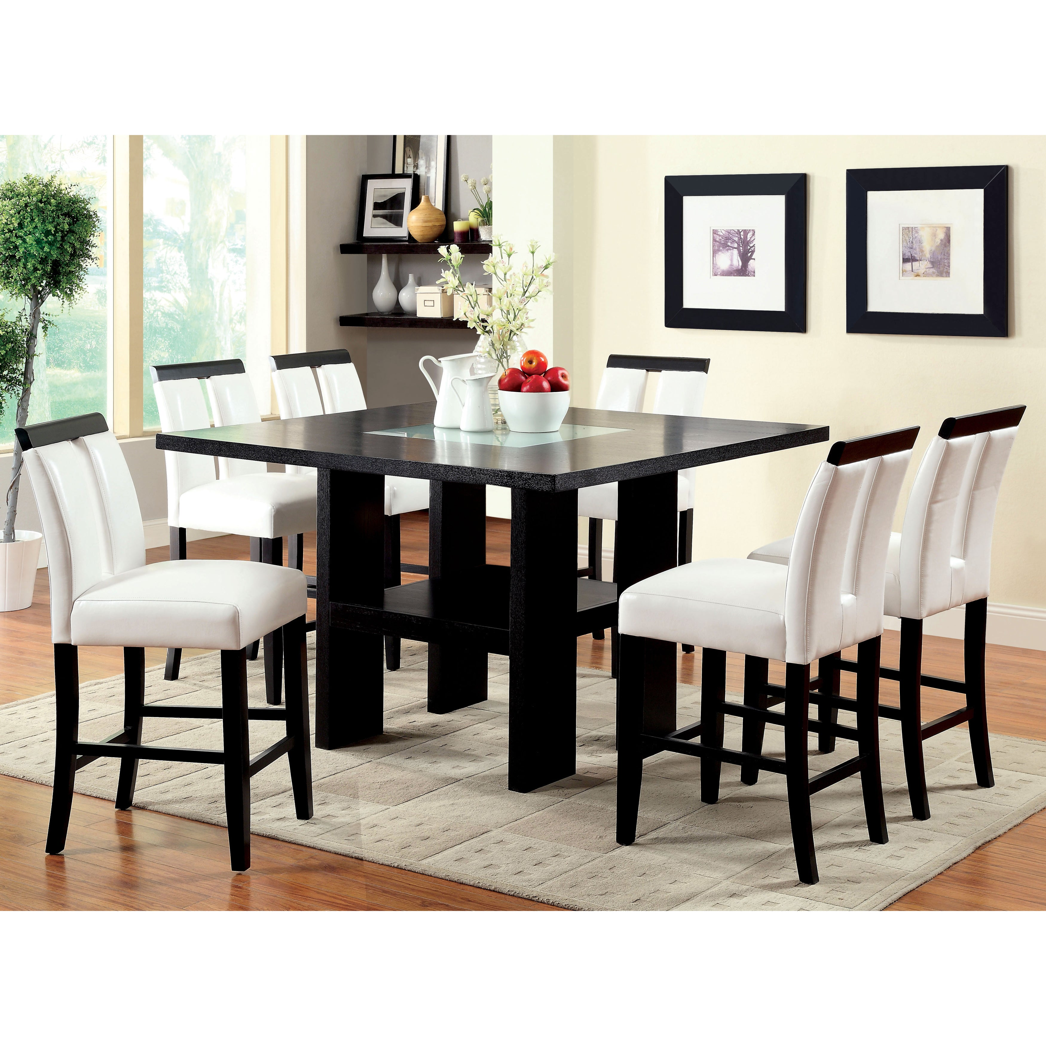 Furniture Of America Lumina 7 Piece Light Up Counter Height Dining Set Overstock 20831098
