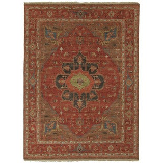 Hand Knotted Oriental Pattern Red/ Blue Wool Area Rug (2' x 3')