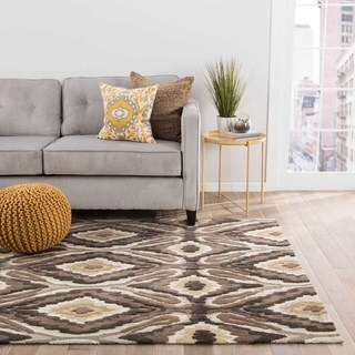 Hand Tufted Tribal Pattern Brown/ White Polyester Area Rug (7'6 x 9'6)