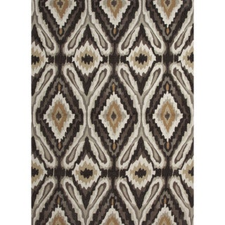 Hand Tufted Tribal Pattern Brown/ White Polyester Area Rug (2' x 3')