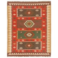 Manzana Handmade Geometric Red/ Gold Area Rug (8' X 10') - 8' x 10'