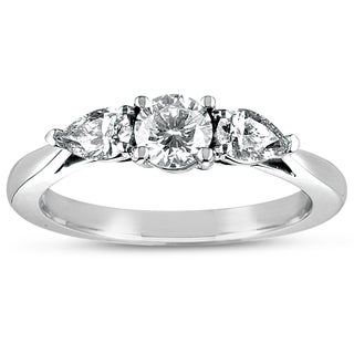 Eloquence 18k White Gold 1ct TDW Certified Diamond 3-stone Ring