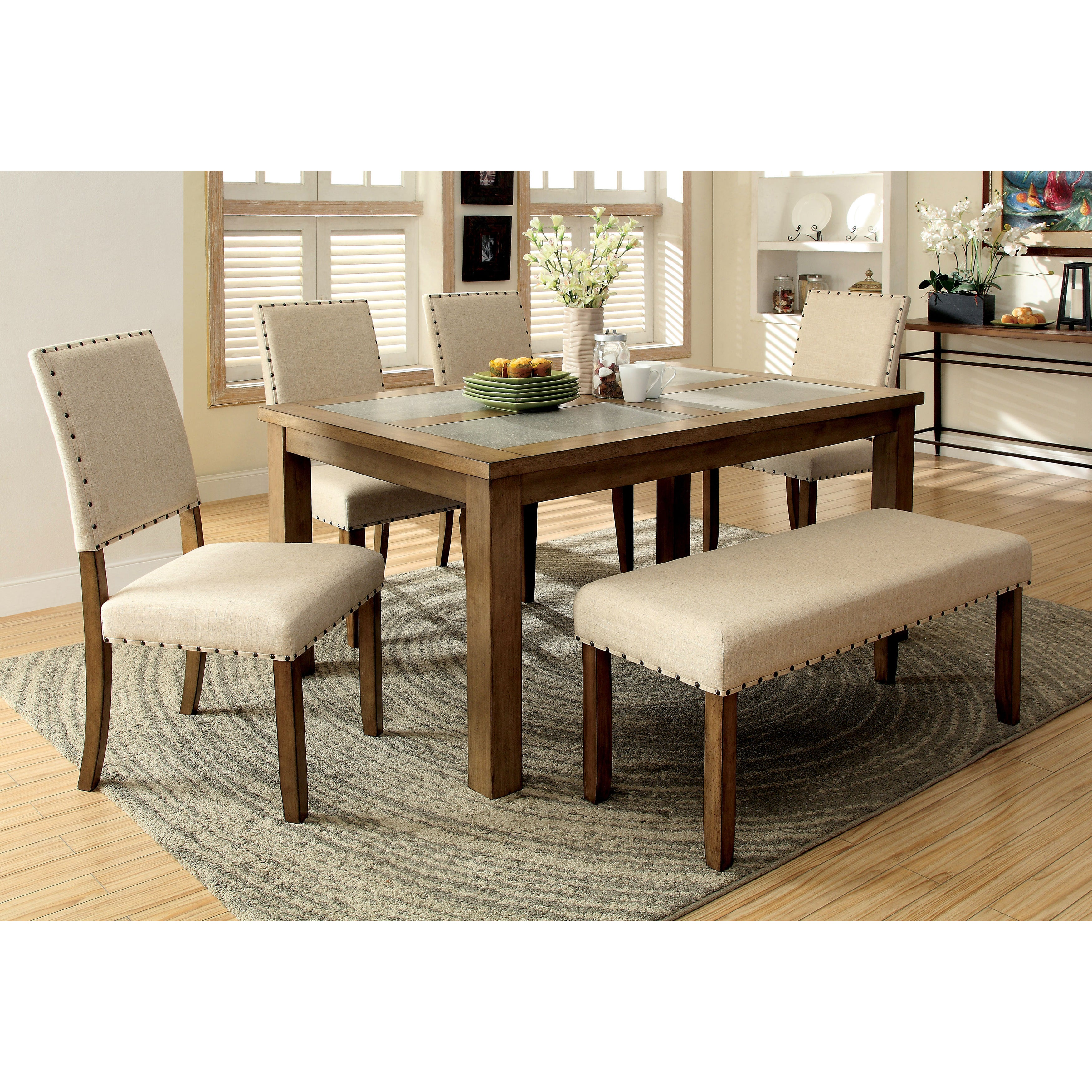Furniture of America Veronte 6-Piece Stone Top Dining Set...