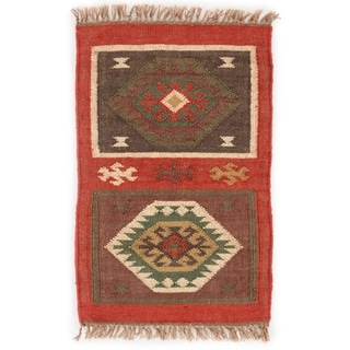 Indo Flat Weave Tribal Red/ Gold Jute Area Rug (2' x 3')